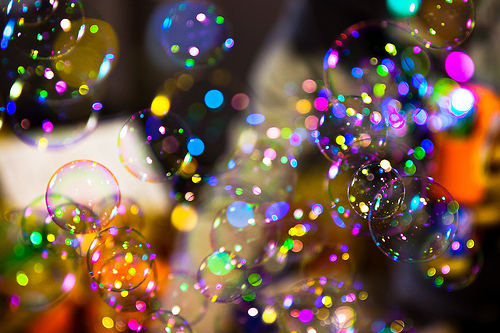 Sparkling and magical-looking bubbles