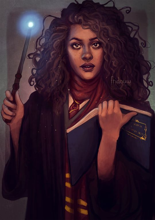 Fan art by Frida Lundqvist. Black Hermione Granger. Spell book open in one hand, wand poised for action in the other.